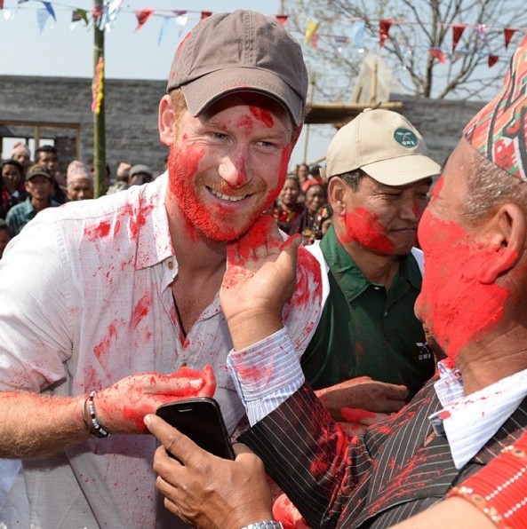 Prince Harry celebrates Holi, the ancient Hindu religious festival in Nepal, also known as the festival of colours...for obvious reasons. #HarryInNepal
