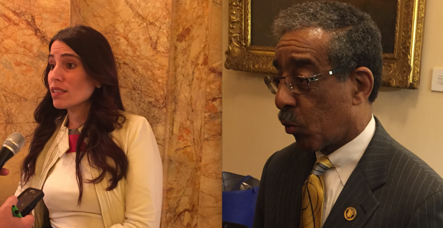 Ruiz and Rice after Monday's announcement at the State House