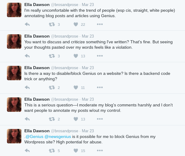 Ella Dawson's tweets about Genius's Web Annotator on March 23, 2016.