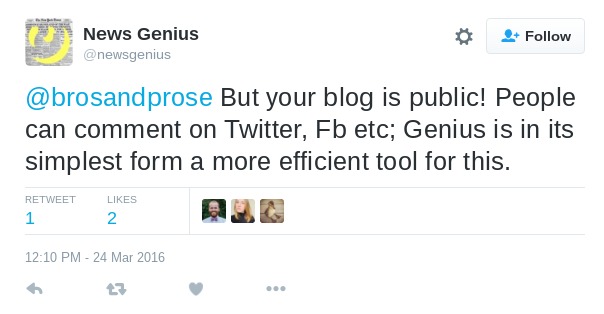 @NewsGenius replies to Ella Dawson's tweets on March 24.