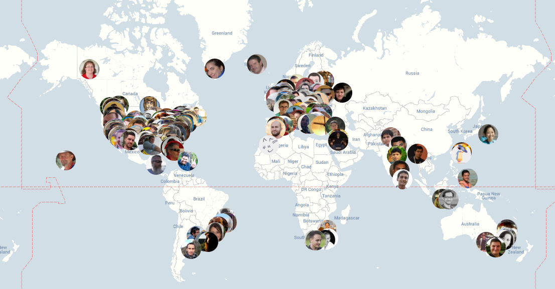 A map of Automattic's global, distributed team