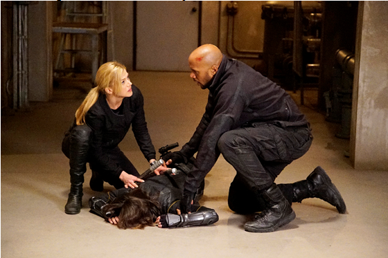 Adrianne Palicki as Bobbi and Henry Simmons as Mack.