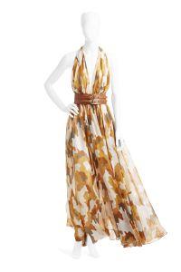 Desert Storm, fall 1991. Silk georgette camouflage-printed halter dress.