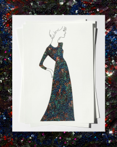 A sketch of Adele's sequin dress