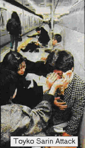 The aftermath of the Tokyo subway sarin attack.