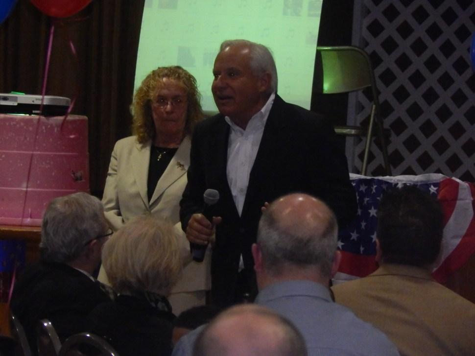 Torricielli with Somerset County Democratic Chair Peg Schaffer.