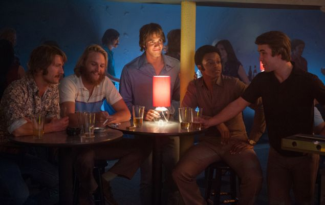 """Left to right: Glen Powell plays Finnegan, Wyatt Russell plays Willoughby, Blake Jenner plays Jake, James Quinton Johnson plays Dale Douglas and Temple Baker plays Plummer in """"Everybody Wants Some."""""""