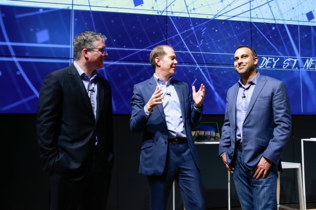 Chris Cocks of Microsoft(left), Gary Riding of Samsung (center) and Navin Shenoy of Intel (right).