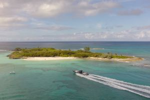 Perhaps the boat headed towards Gumelimi Cay makes pit stops at Johnny Depp's island, too.