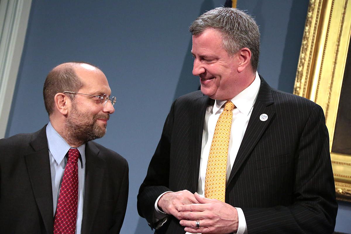 Steve Banks and Mayor Bill de Blasio.