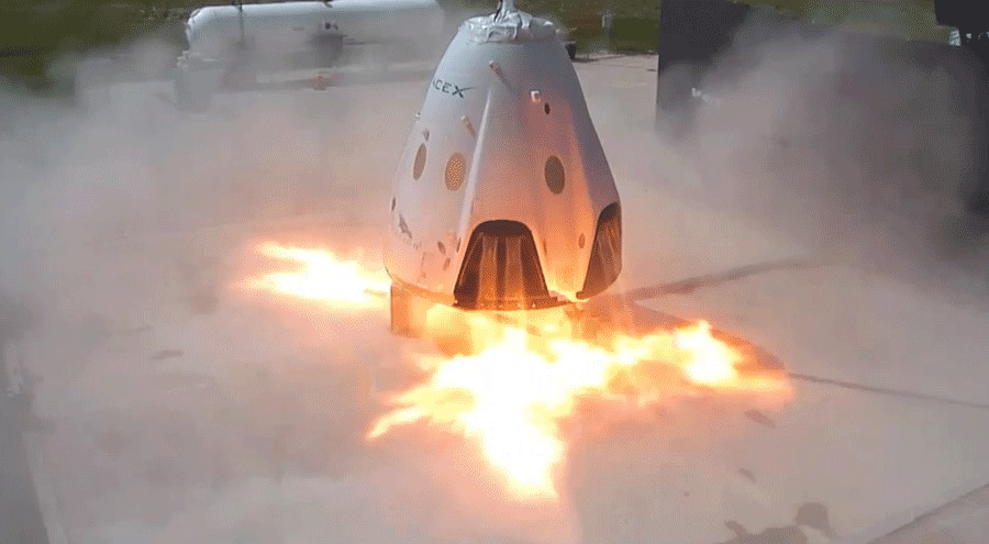 Recently tested Dragon 2's SuperDraco propulsive landing system at our McGregor, TX facility. Key for Mars landing