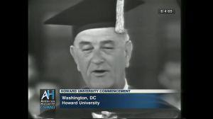 Lyndon Johnson speaks at Howard University on June 4, 1965.