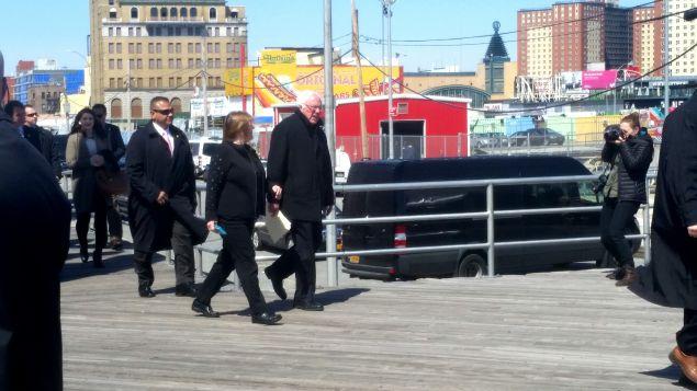 Bernie Sanders on the Coney Island boardwalk.