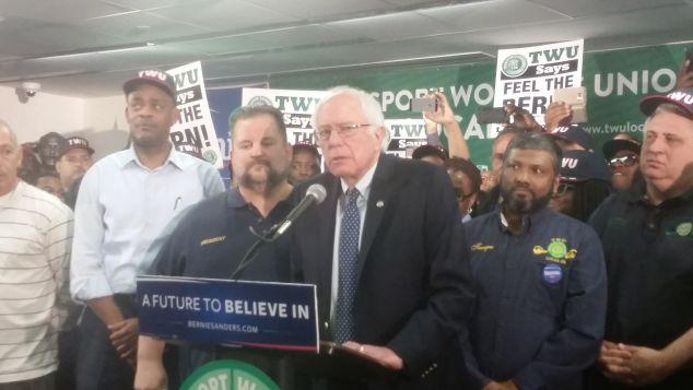 Sen. Bernie Sanders with John Samuelsen today.