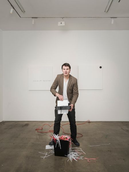 Nelson Saiers and an installation view of 'Inside.'