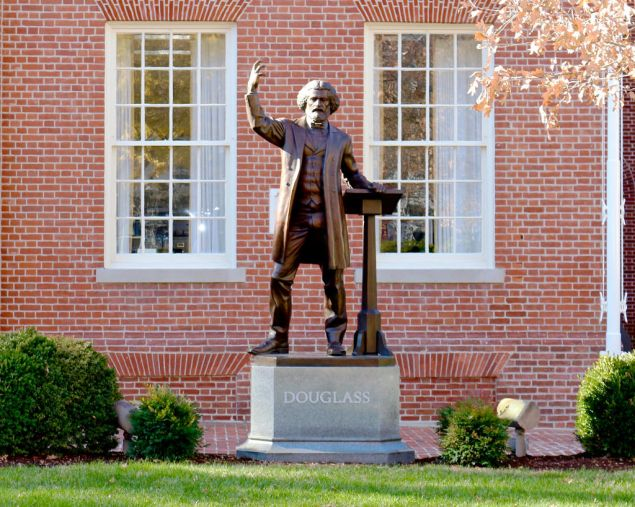 A statue of African-American social reformer, abolitionist and writer Frederick Douglas