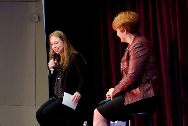 Chelsea Clinton speaks at the LGBT Community Center in Manhattan alongside former Council Speaker Christine Quinn