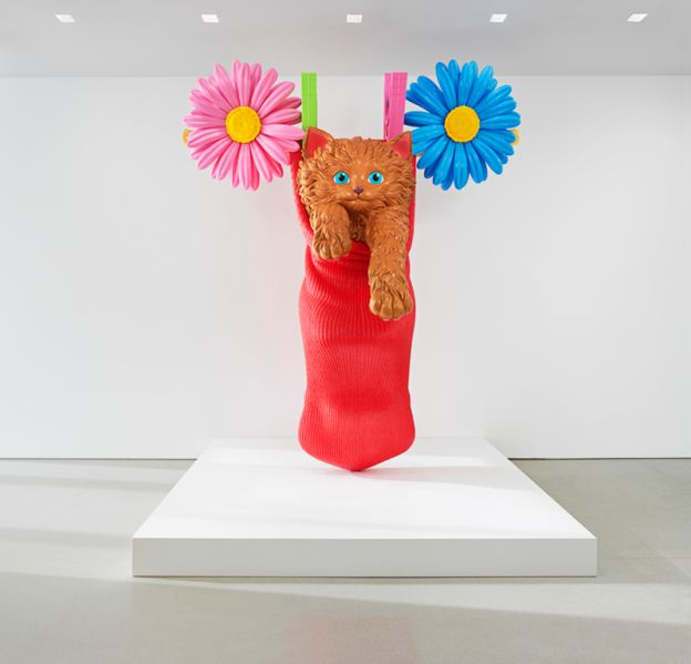 """An installation view of Jeff Koons's Cat on a Clothesline (Red), 1994-2001, in """"Cecily Brown, Jeff Koons, Charles Ray"""" at The Flag Art Foundation, 2016."""
