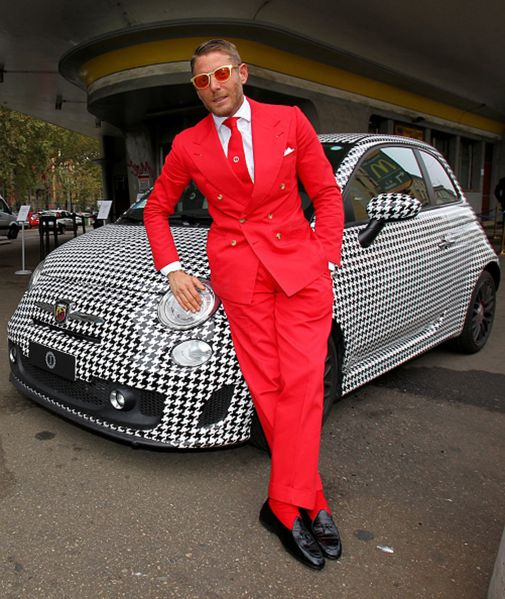 MILAN, ITALY - OCTOBER 07: Founder and president of Italia Independent Lapo Elkann poses for photographers during the presentation of Garage Italia Customs New Headquarters on October 7, 2015 in Milan, Italy. (Photo by Marco Luzzani/Getty Images)
