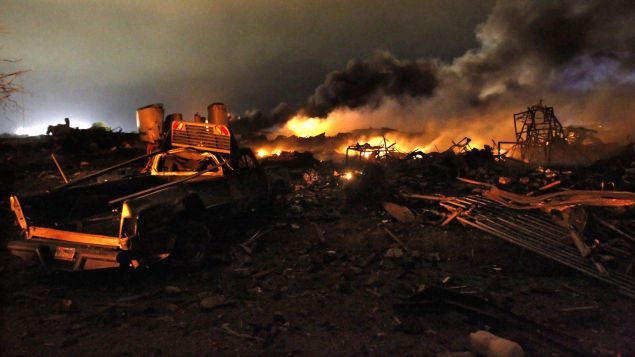 The aftermath of the West, Texas fertilizer factory explosion.