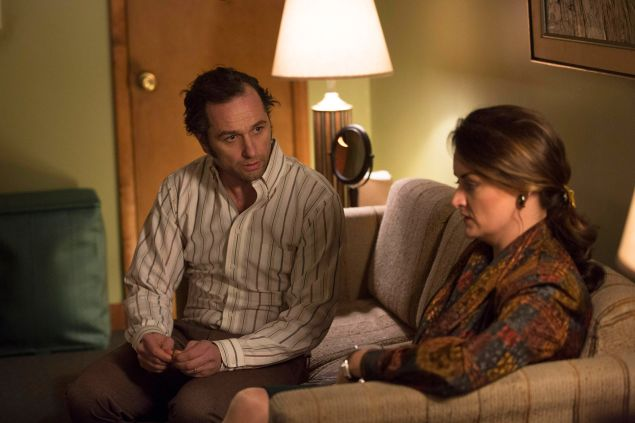 Matthew Rhys as Philip Jennings and Alison Wright as Martha Hanson.