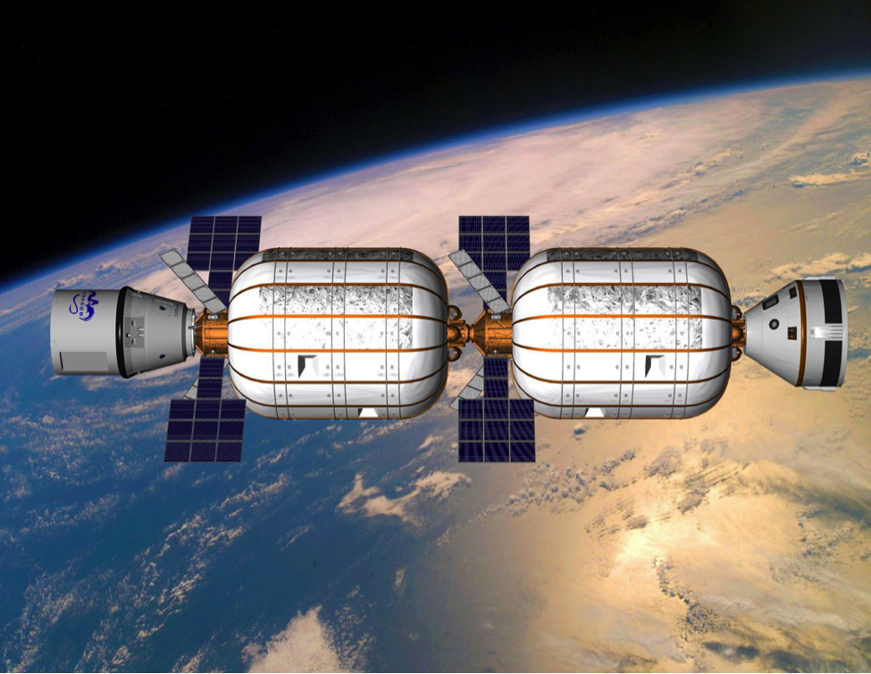 Artist's concept of a Bigelow space station comprised of two expandable habitats