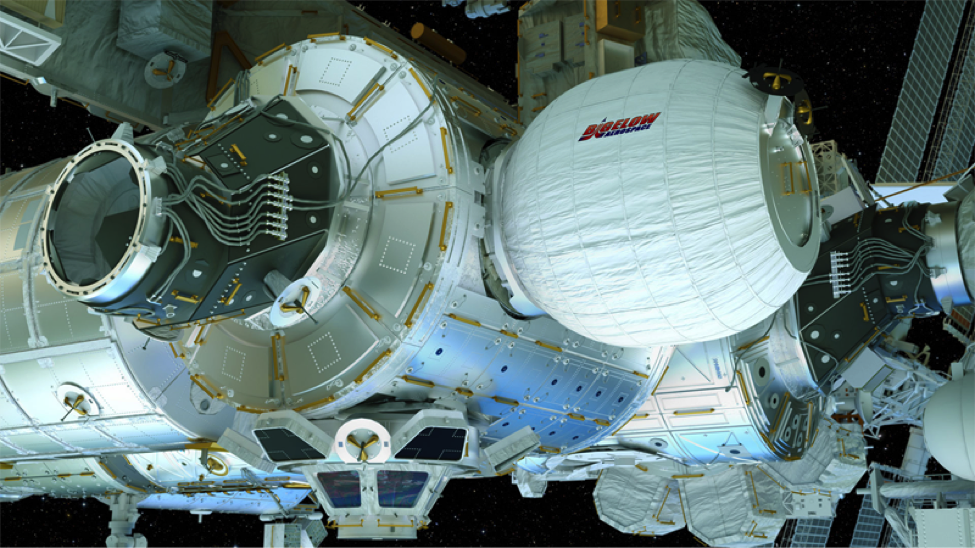 Artist concept of the Bigelow Aerospace BEAM while attached to the ISS
