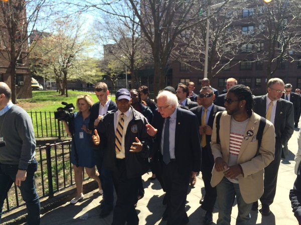 Sen. Bernie Sanders, flanked by Borough President Eric Adams and Councilman Jumaane Williams.