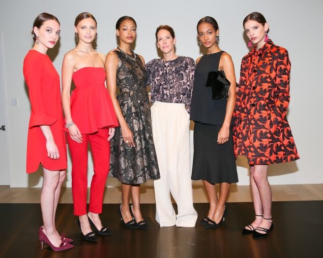 Austyn Zung with models at the Fall/Winter presentation