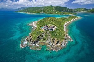 Buck Island, a 43-acre island in the BVIs, is currently on the market for $30 million with . It has a main house and two guest cottages, along with beach and boat houses.
