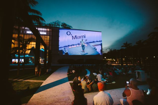 """Poetry by moonlight during the """"O, Miami"""" festival."""
