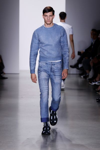 A denim sweatshirt from Calvin Klein Collection