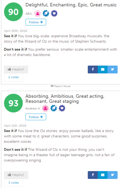 A sampling of Show-Score member reviews of Wicked.