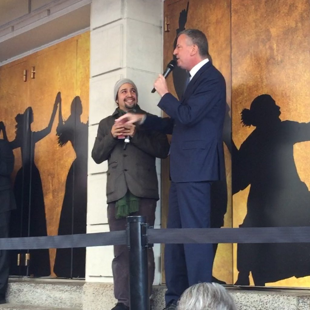 Lin-Manuel Miranda and Mayor Bill de Blasio at today's Ham4Ham show.