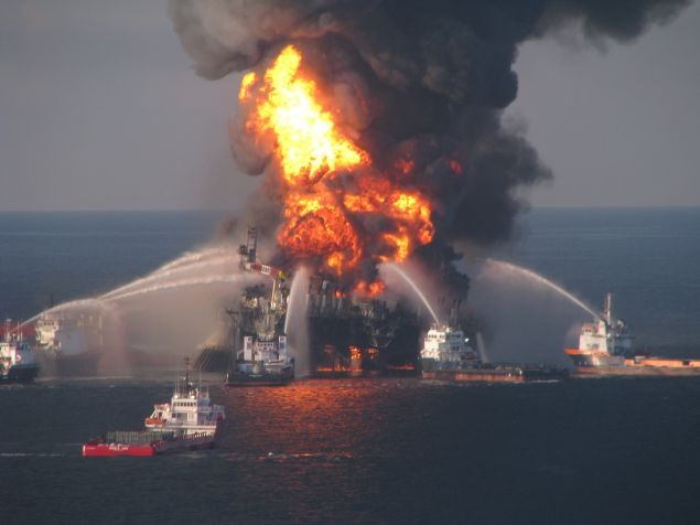 Crews try to control the Deepwater Horizon oil spill.