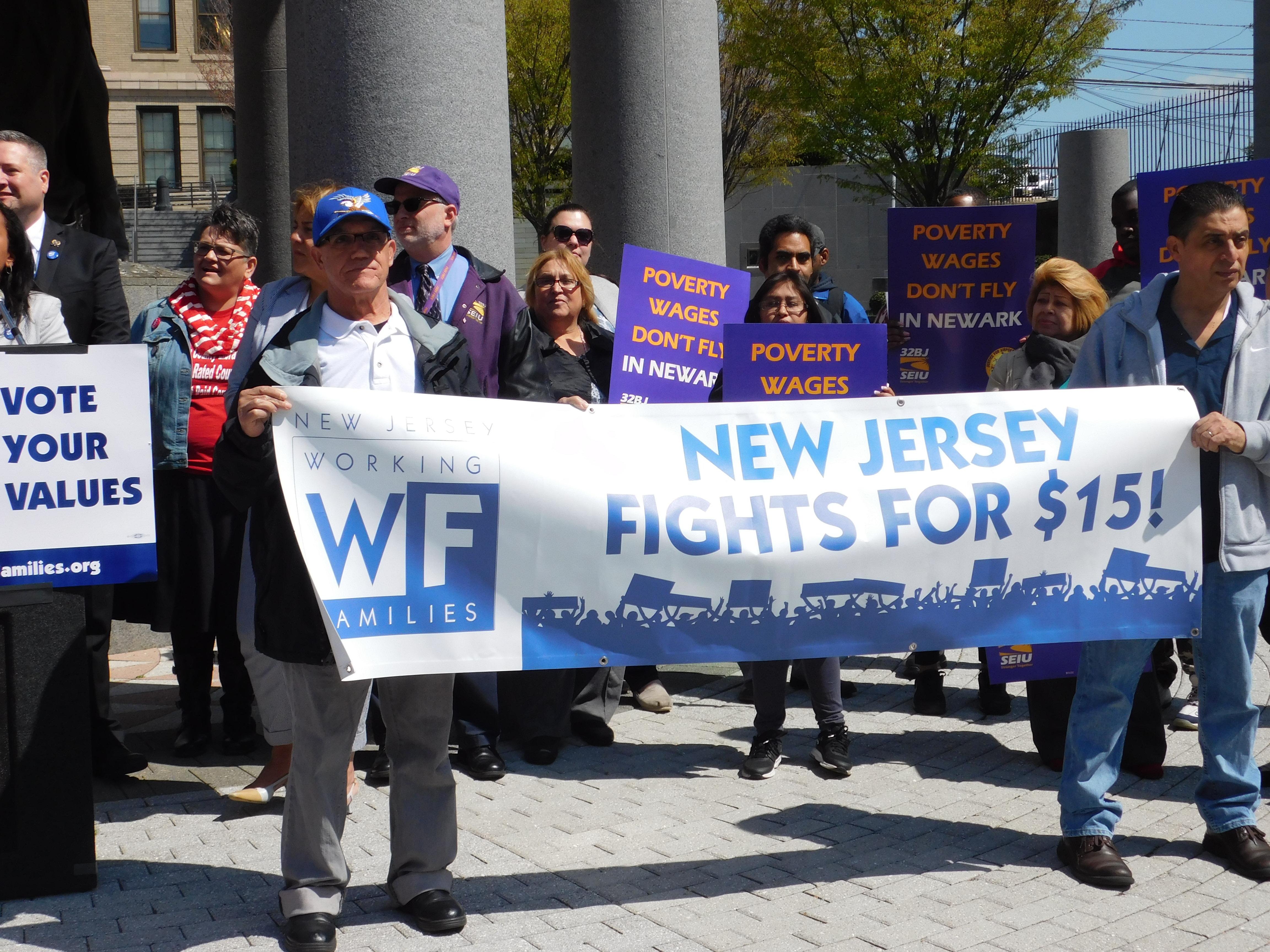 Workers rallied in Trenton.