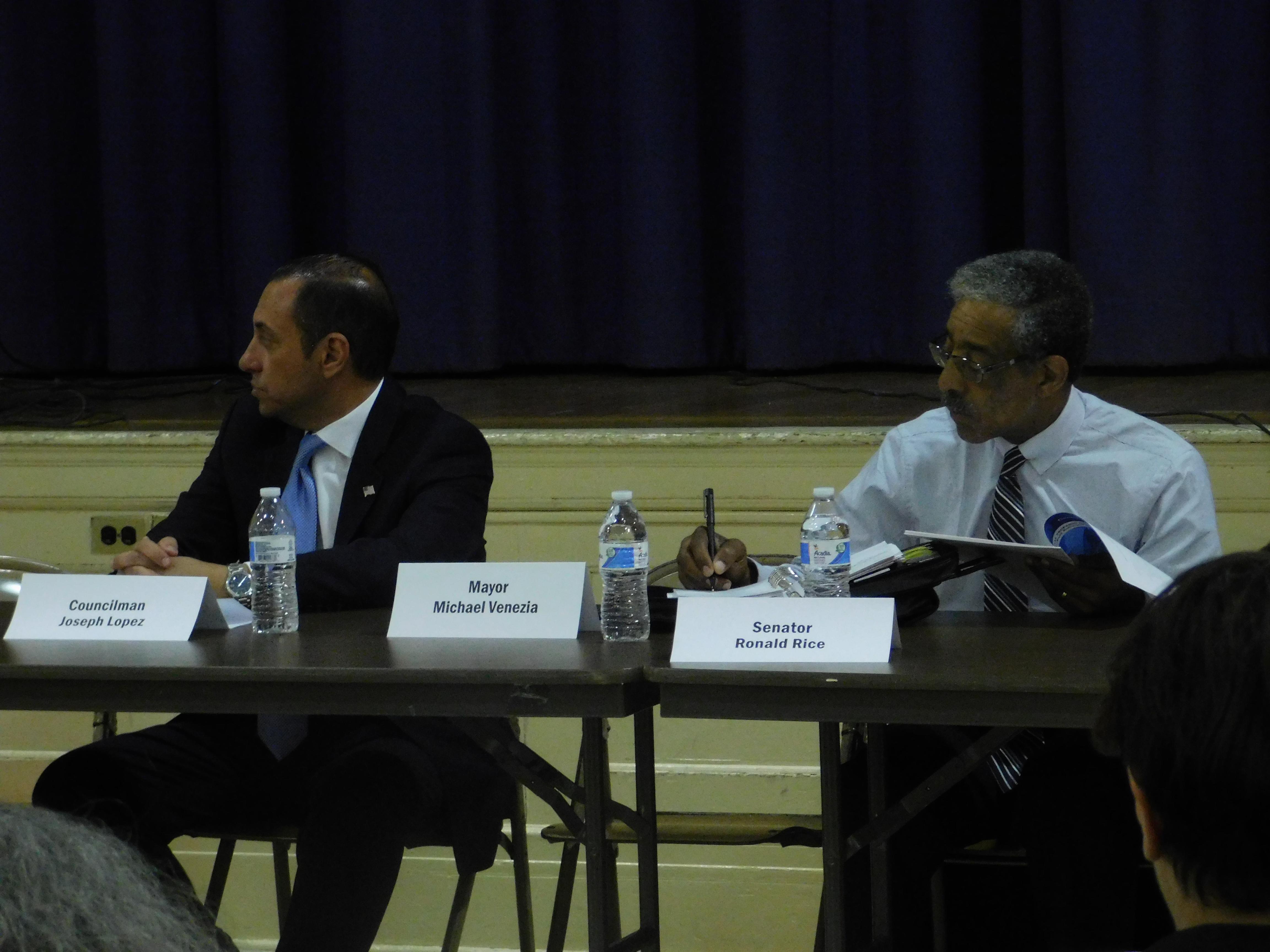 Senator Ron Rice (left) also spoke at the discussion.
