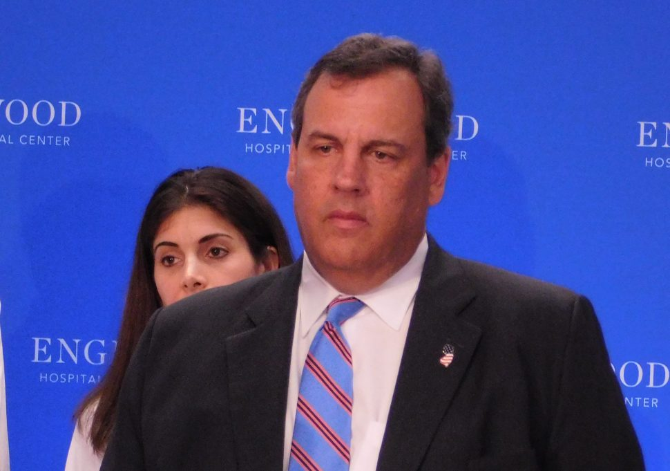 Governor Christie at a press conference in Englewood.