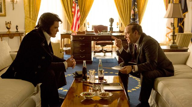Michael Shannon as Elvis Presley and Kevin Spacey as President Richard Nixon in Liza Johnson's Elvis & Nixon..