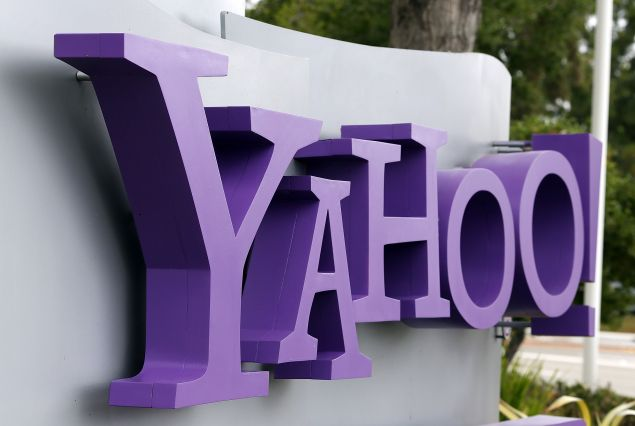 The Yahoo logo is displayed in front of the Yahoo headqarters on July 17, 2012 in Sunnyvale, California. Yahoo will report Q2 earnings one day after former Google executive Marissa Mayer was named as the new CEO.