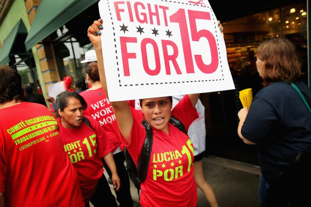 "A ""Fight for 15"" protest in Chicago. (Photo by Scott Olson/Getty Images)"