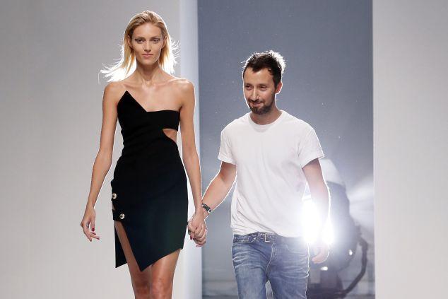Fashion designer Anthony Vaccarello with model Anja Rubik