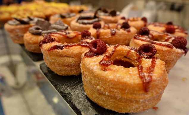 """Cronuts"" , a cross between a croissant and a doughnut, are displayed at the Rinkoff Bakery in London on October 3, 2013. First there was the Cronut, now there's the Dosant and the Crodough. Londoners, it seems, just can't get enough of their doughnut-croissant crossovers."