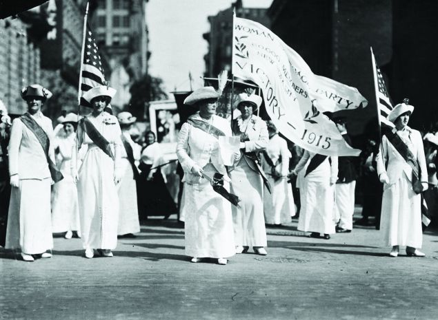 The Manhattan Delegation in a Woman Suffrage Party parade through New York in 1915.