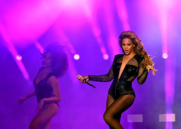 "Beyonce performs during the ""On The Run Tour: Beyonce And Jay-Z"""