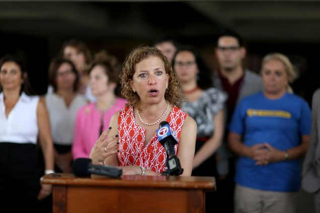 Congresswoman Debbie Wasserman Schultz gives a speech in Fort Lauderdale, Fla., last year.