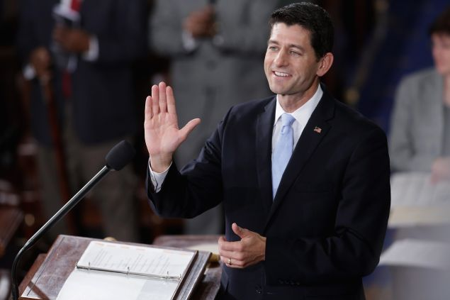 Speaker-elect of the House Paul Ryan (R-WI) waves to his supportes, guests and members of his family in the House chamber at the U.S. Capitol October 29, 2015 in Washington, DC.