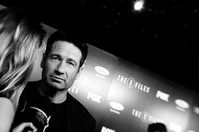 "David Duchovny attends ""The X-Files"" Fox premiere at California Science Center on January 12, 2016 in Los Angeles, California."