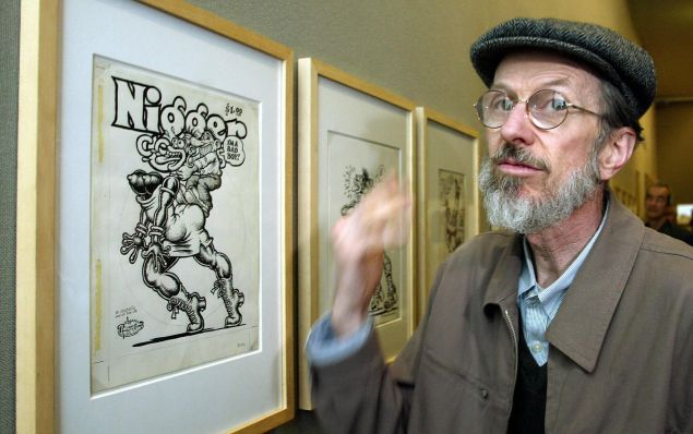 American cartoonist Robert Crumb shows one of his paintings at the Museum Ludwig in the western town of Cologne, 27 May 2004. (Photo credit should read TORSTEN SILZ/AFP/Getty Images)