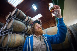 James Bardgett at the Wild Beer Co brewery at Lower Westcombe Farm.